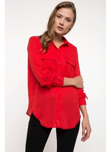 DeFacto Cep Detaylı Gömlek Tunik Kırmızı